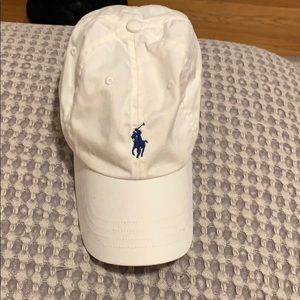 Ralph Lauren White Polo Hat with Navy Blue Jockey